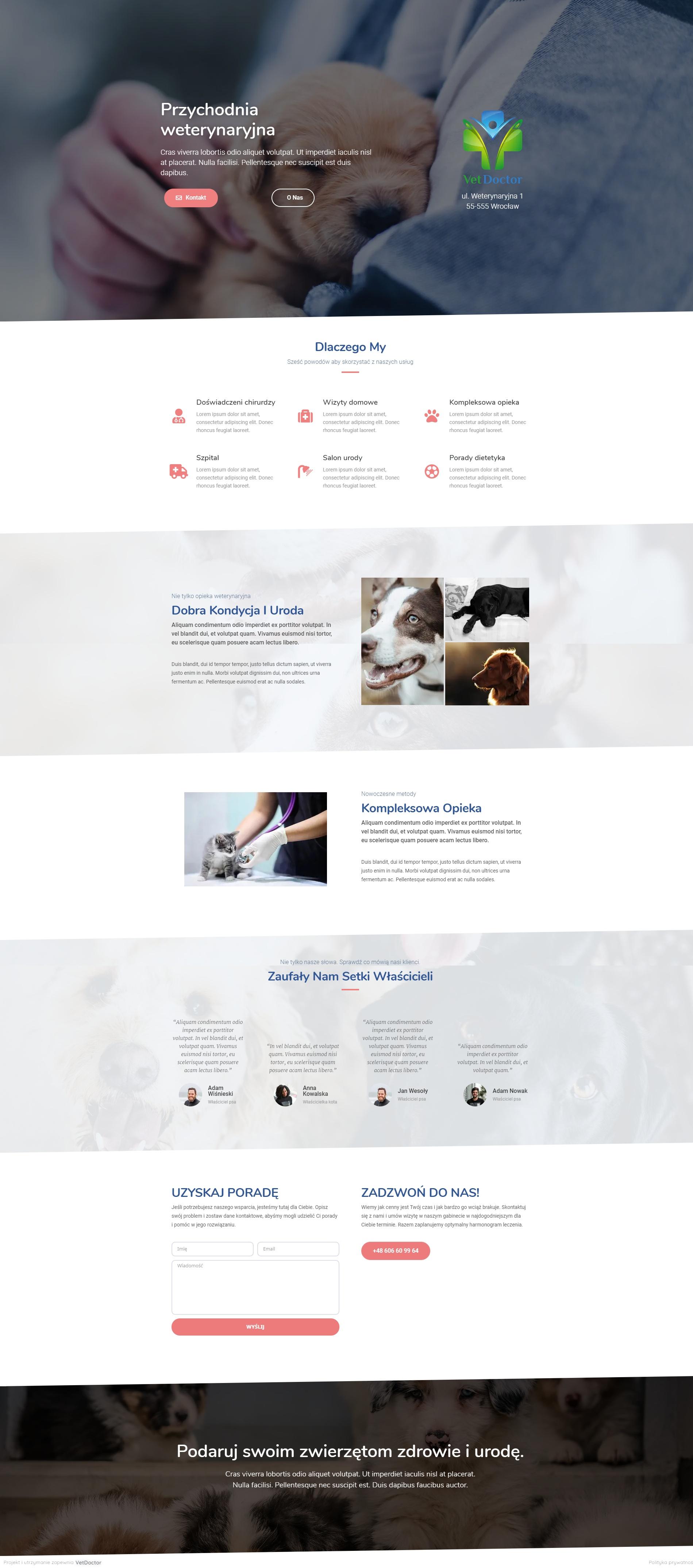 Strona główna • VetDoctor (jednostronicowe) • Marketing weterynaryjny. Oferujemy tworzenie stron WWW dla weterynarii: projekt, utrzymanie, mail firmowy, darmowa domena, SEO.